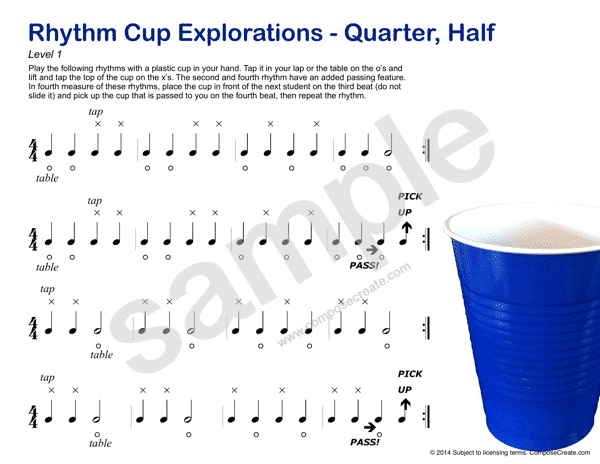 Rhythm Cup Explorations 1 - Cup tapping to teach rhythm. Quarter note rhythm worksheets - Fun!