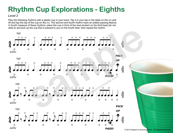 Rhythm Cup Explorations 1 - Cup tapping to teach rhythm. Eighth note rhythm worksheets - Fun!