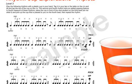Rhythm Cup Explorations 1 - Cup tapping to teach rhythm. Triplet rhythm worksheets - Fun!