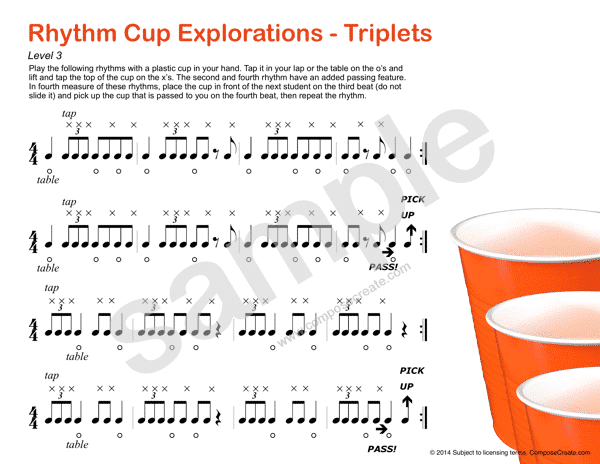 Rhythm Cup Explorations 1 - Cup tapping to teach rhythm. Triplet rhythm worksheets - Fun!