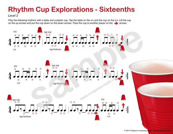Rhythm Cup Explorations 1 - Cup tapping to teach rhythm. Sixteenth note rhythm worksheets - Fun!