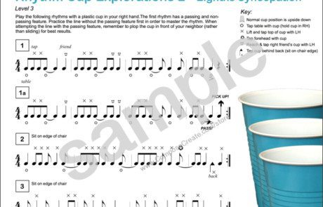 Rhythm Cup Explorations 2 - super fun cup tapping rhythm exercises with eighth note syncopation for music students from composecreate.com