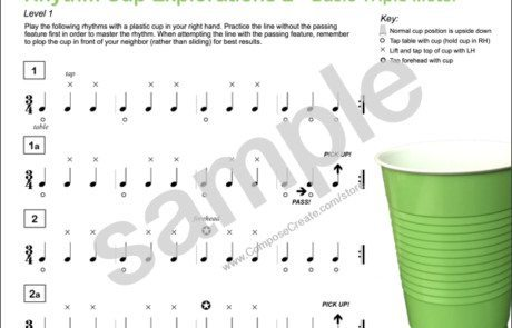 Rhythm Cup Explorations 2 - super fun cup tapping rhythm exercises in triple meter for music students from composecreate.com
