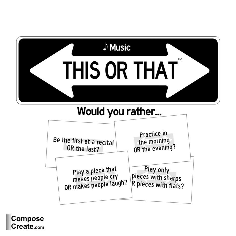 Music This or That - Music ice breaker game for classroom, group, or private music lessons