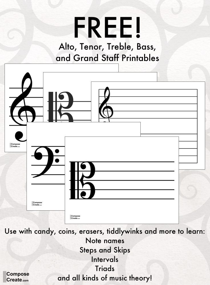 printable treble bass tenor and alto clef staff for teaching music. Black Bedroom Furniture Sets. Home Design Ideas