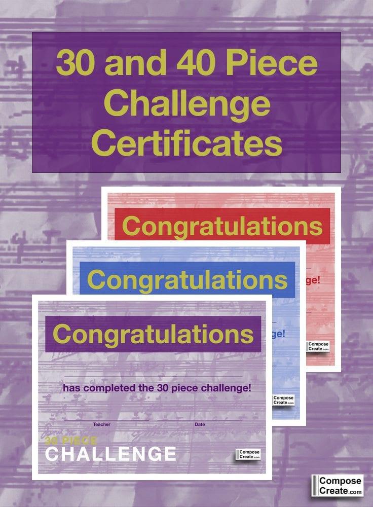 New 30 Piece Challenge Certificates
