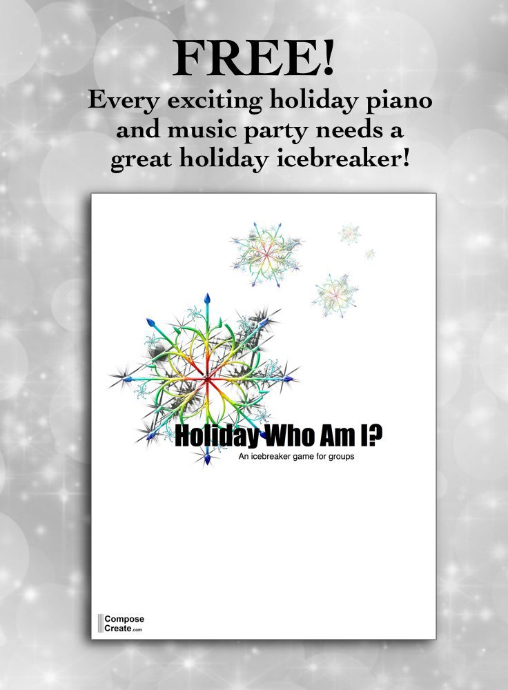 Great icebreaker for holiday group lesson or holiday music party. Holiday Who Am I | ComposeCreate.com #pianoteaching #holiday #piano #grouplessons #party #holiday