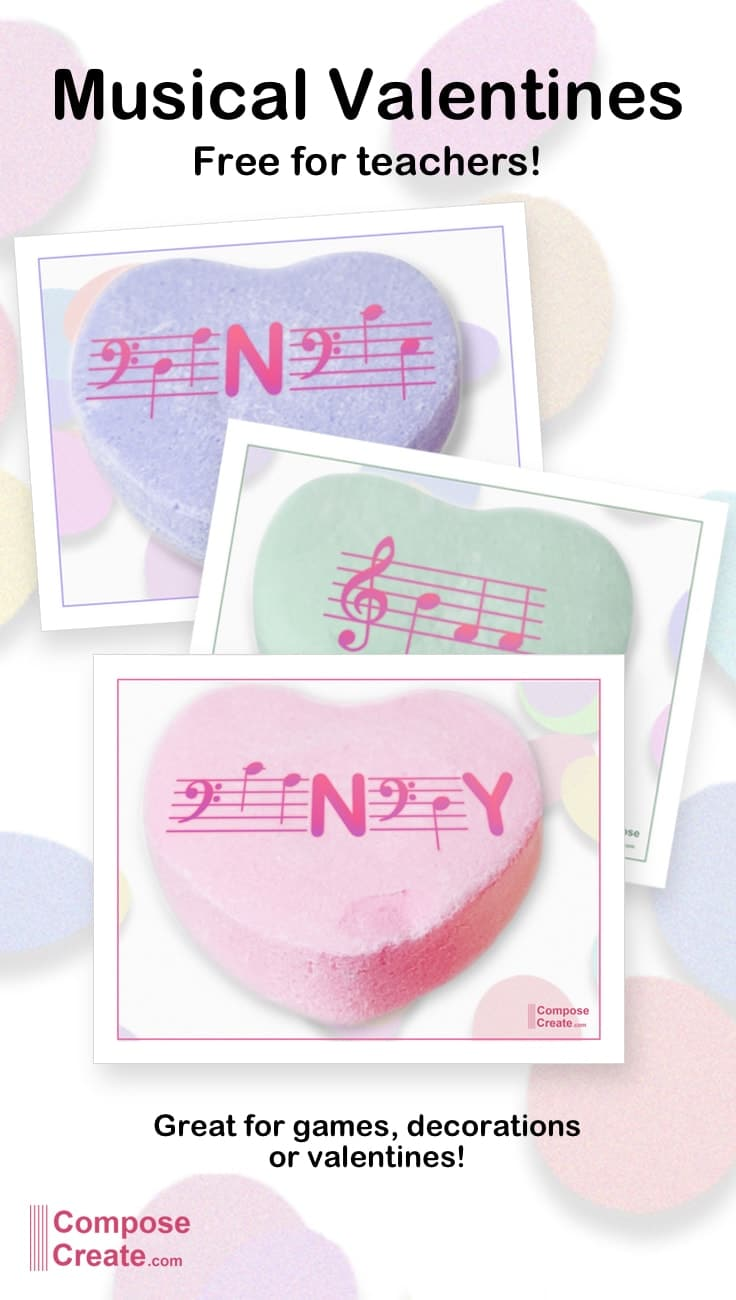 Download these free music valentines for piano teachers and music teachers! | composecreate.com #music #valentine #valentines #piano #pianoteaching