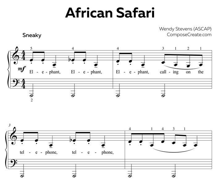 Piano fingering issues - help from African Safari