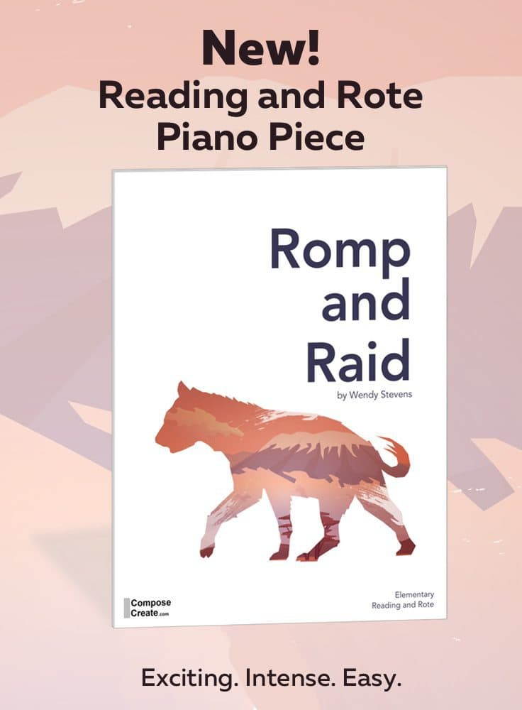 Romp and Raid - intense, suspense but easy rote and reading piano recital piece for elementary piano students | ComposeCreate.com #teaching #piano #recital #music #rote #teaching #easy #piece