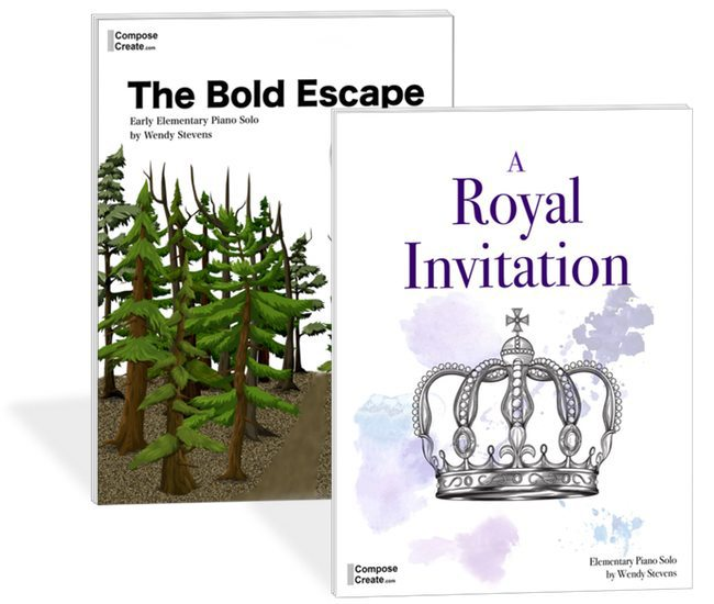 A Royal Invitation and The Bold Escape - 2 grand sounding but easy to play piano pieces for elementary students | ComposeCreate.com/store