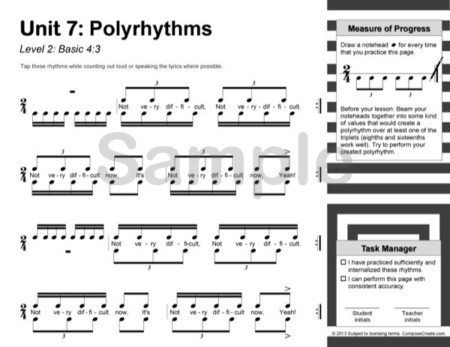 Rhythm Manipulations - a reproducible rhythm curriculum for older students drilling cut time, compound time, sixteenths, polyrhythms, and more. By Wendy Stevens | ComposeCreate.com