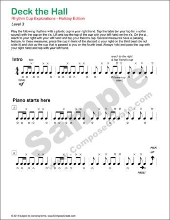 Rhythm Curriculum Bundle: Included Rhythm Cup Explorations 1 and 2, Rhythm Menagerie, Rhythm Manipulations, Holiday Rhythm Cup Explorations, and the beats for the rhythm cup products.   ComposeCreate.com