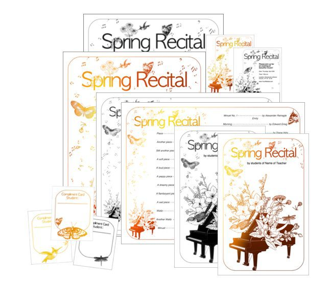Recital Themes - Editable Programs