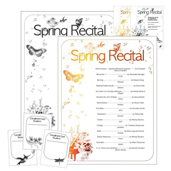 Recital Compliment Exchange - Spring recital template from ComposeCreate.com | Includes recital compliment cards, editable program, editable invitation