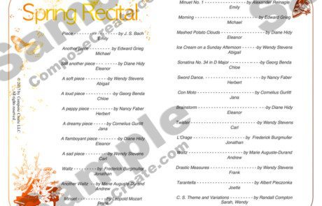 Spring Recital Template - complete package of invitation, program, and recital compliment cards