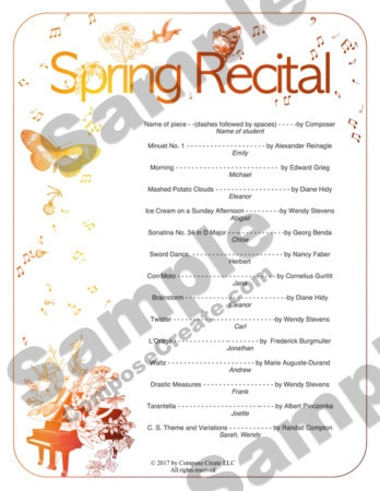 2017 Spring Recital Package