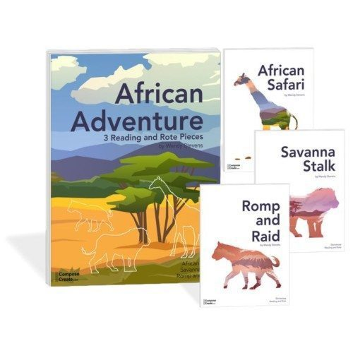 The African Adventure Bundle contains the Rote and Reading teaching pieces: Romp and Raid, Savanna Stalk and  African Safari.