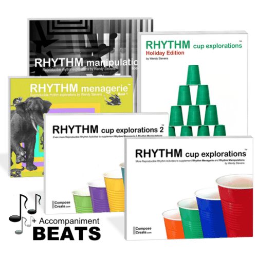 Rhythm curriculum bundle - Includes Rhythm Cup Explorations 1 and 2, Rhythm Menagerie, Rhythm Manipulations, Holiday Rhythm Cup Explorations and the beats for RCE1, 2, and piano tracks for Holiday RCE | ComposeCreate.com
