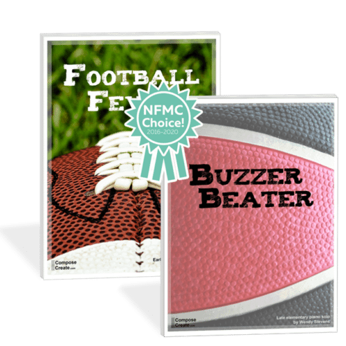 Football Fever and Buzzer Beater - two sports themed piano solos by Wendy Stevens | ComposeCreate.com
