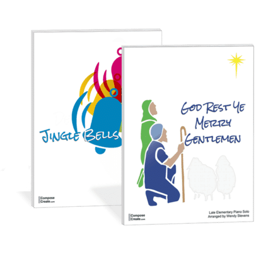 Holiday Piano Pieces by Level: Jingle Bells and God Rest Ye Merry Gentlemen - Buy this bundle and save. Two engaging holiday piano pieces for elementary students by Wendy Stevens | ComposeCreate.com