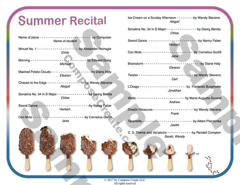 Summer ice cream and popsicle recital program from ComposeCreate.com