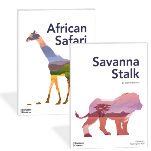 African Safari and Savanna Stalk - 2 rote and reading piano teaching pieces by Wendy Stevens | ComposeCreate.com