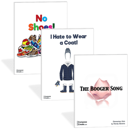 The What Kids Think bundle of funny piano songs is perfect for mid to late elementary students. From ComposeCreate.com