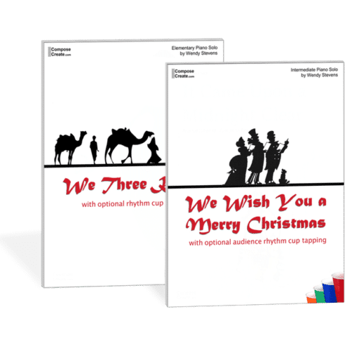 Hot Holiday Piano Pieces by Level: We Wish You a Merry Christmas and We Three Kings Cup Tapping piano arrangements for the holiday recitals! Arranged by Wendy Stevens | ComposeCreate.com