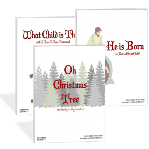 O Christmas Tree, He is Born, What Child is This - Bundle of intermediate holiday piano solos by Wendy Stevens | ComposeCreate.com
