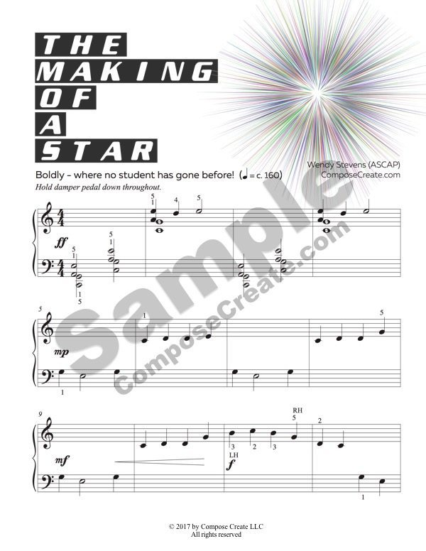The Making of a Star - big and bold solar eclipse music for elementary piano students   ComposeCreate.com