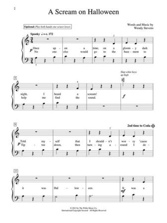 Fall Piano Teaching Ideas - A Scream on Halloween by Wendy Stevens - Such a fun piece with slapping the keyboard (and screaming if you want) that is perfect for early elementary piano students   Composecreate.com