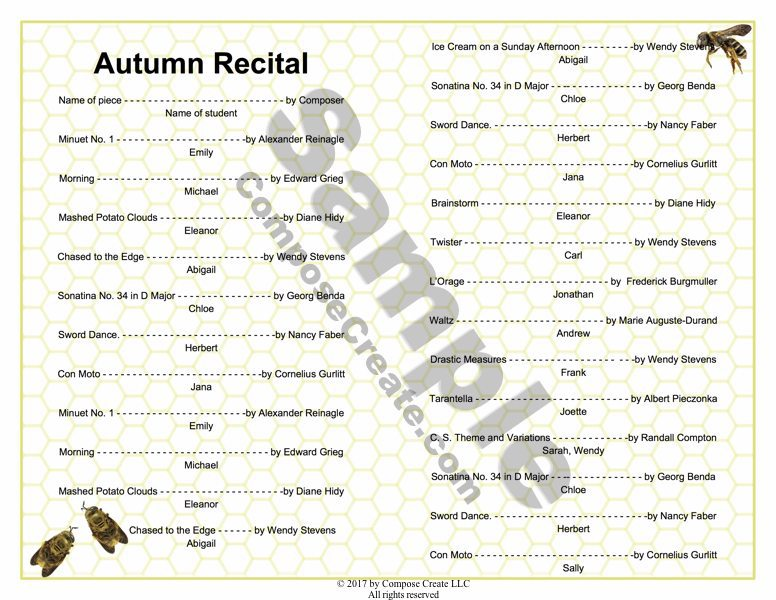 Autumn recital program package completely editable november piano teaching ideas fall recital program editable template from composecreate pronofoot35fo Image collections
