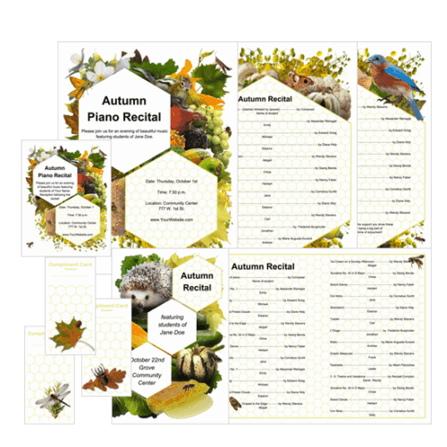November piano teaching ideas: Autumn Recital Program Editable Template from ComposeCreate.com