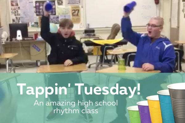 Tappin' Tuesday - an amazing creative project for Rhythm Cup Explorations by a high school class + Interview with teacher on how to teach rhythm in high school with Rhythm Cup Explorations | ComposeCreate.com