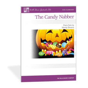 Fall Piano Teaching Ideas - The Candy Nabber by Wendy Stevens - A fun early elementary piano solo with knocking on the fallboard. Who is that person who keeps nabbing your candy? | Composecreate.com