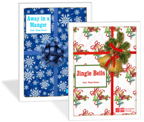 Holiday Rote Piano Pieces - Away in a Manger Rote and Reading + Jingle Bells Rote and Reading - Sale! | ComposeCreate.com #piano #holiday #easy #christmas #pianopedagogy #pianoteaching