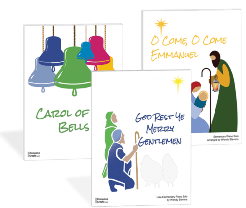 BUNDLE: O Come O Come Emmanuel, God Rest Ye Merry Gentlemen, Carol of the Bells - Elementary piano solos by Wendy Stevens | ComposeCreate.com