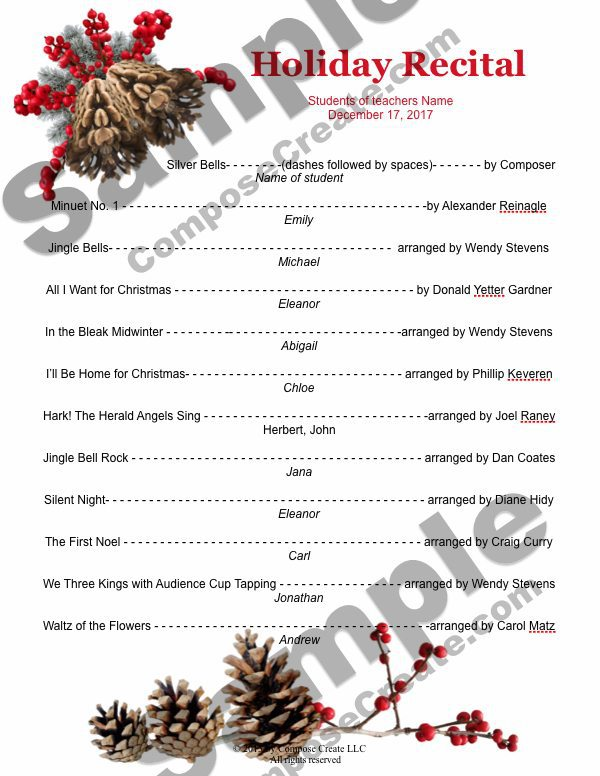 New holiday recital template all text is editable holiday recital template package editable including the title only from composecreate pronofoot35fo Gallery