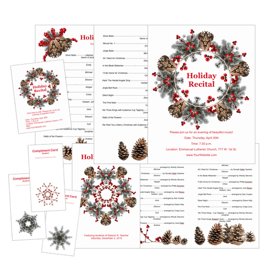 Holiday recital program package completely editable holiday recital template package available only at composecreate pronofoot35fo Gallery